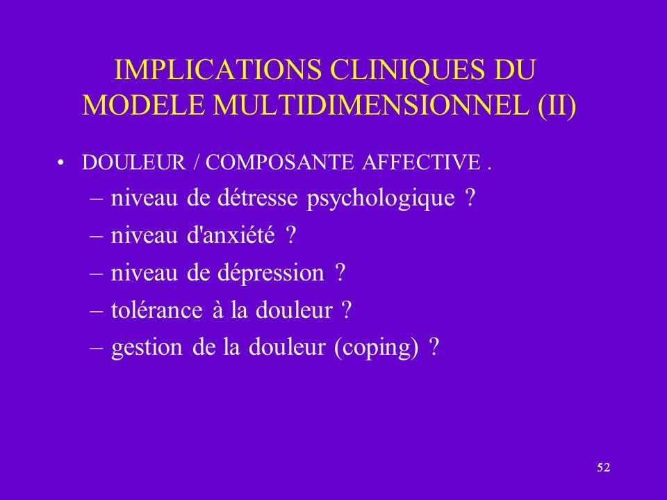 52 IMPLICATIONS CLINIQUES DU MODELE MULTIDIMENSIONNEL (II) DOULEUR / COMPOSANTE AFFECTIVE. –niveau de détresse psychologique ? –niveau d'anxiété ? –ni