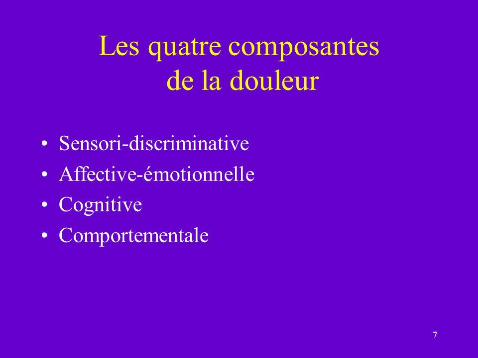 7 Les quatre composantes de la douleur Sensori-discriminative Affective-émotionnelle Cognitive Comportementale