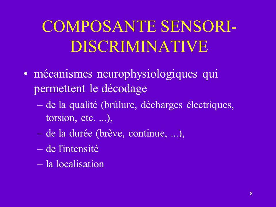 8 COMPOSANTE SENSORI- DISCRIMINATIVE mécanismes neurophysiologiques qui permettent le décodage –de la qualité (brûlure, décharges électriques, torsion