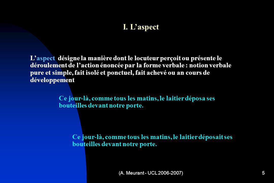 (A. Meurant - UCL 2006-2007)5 I. Laspect Laspect désigne la manière dont le locuteur perçoit ou présente le déroulement de laction énoncée par la form