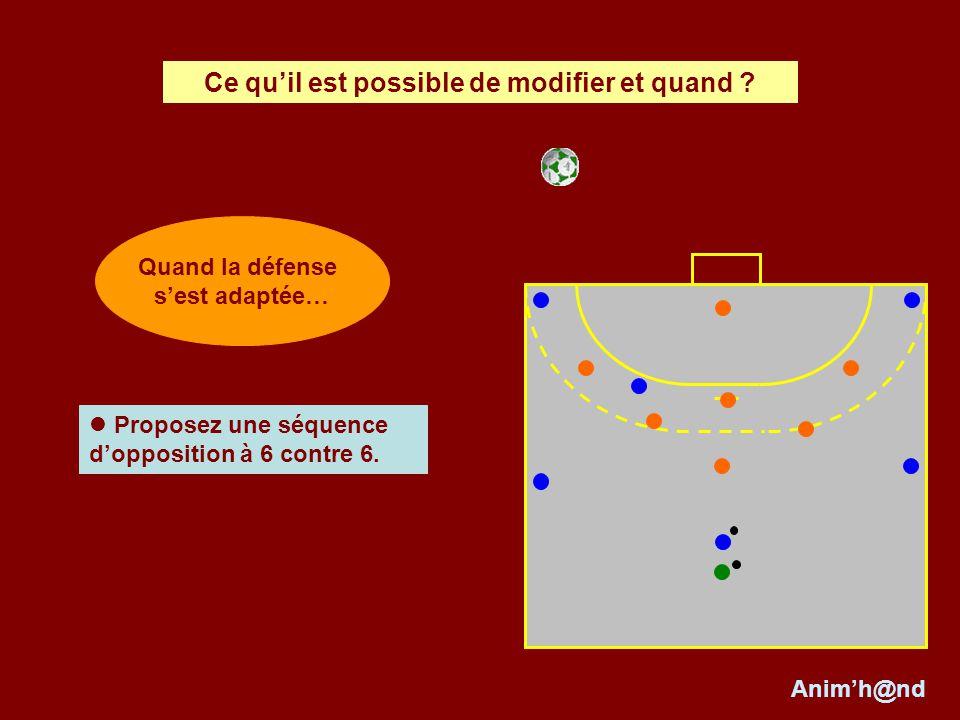 Proposez une séquence dopposition à 6 contre 6. Ce quil est possible de modifier et quand ? Animh@nd Quand la défense sest adaptée…