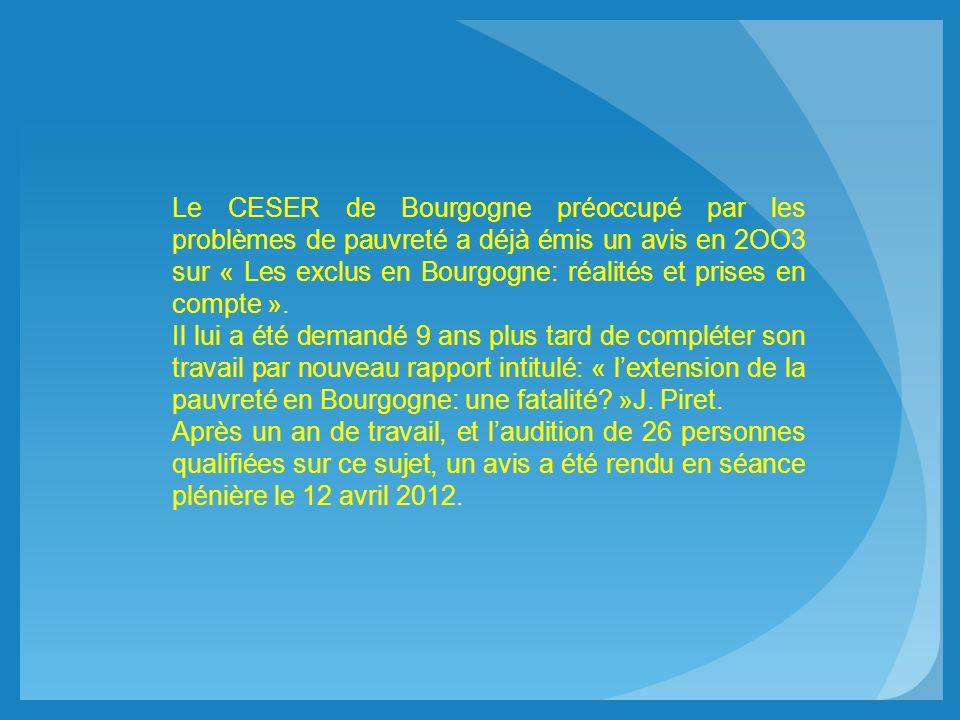 Le CESER de Bourgogne préoccupé par les problèmes de pauvreté a déjà émis un avis en 2OO3 sur « Les exclus en Bourgogne: réalités et prises en compte