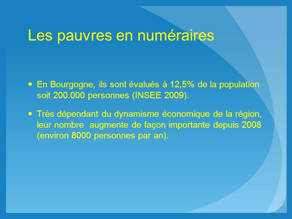 Les pauvres en numéraires En Bourgogne, ils sont évalués à 12,5% de la population soit 200.000 personnes (INSEE 2009). Très dépendant du dynamisme éco