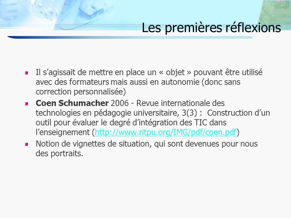 3 Les premières réflexions Il sagissait de mettre en place un « objet » pouvant être utilisé avec des formateurs mais aussi en autonomie (donc sans correction personnalisée) Coen Schumacher 2006 - Revue internationale des technologies en pédagogie universitaire, 3(3) : Construction dun outil pour évaluer le degré dintégration des TIC dans lenseignement (http://www.ritpu.org/IMG/pdf/coen.pdf)http://www.ritpu.org/IMG/pdf/coen.pdf Notion de vignettes de situation, qui sont devenues pour nous des portraits.