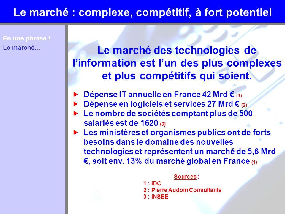 Le marché : complexe, compétitif, à fort potentiel Le marché des technologies de linformation est lun des plus complexes et plus compétitifs qui soien