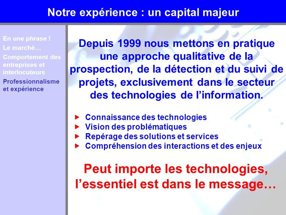 Notre expérience : un capital majeur Depuis 1999 nous mettons en pratique une approche qualitative de la prospection, de la détection et du suivi de p