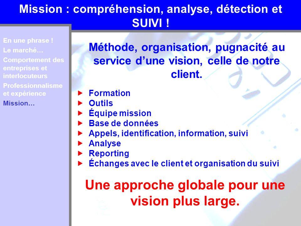 Mission : compréhension, analyse, détection et SUIVI ! Méthode, organisation, pugnacité au service dune vision, celle de notre client. En une phrase !