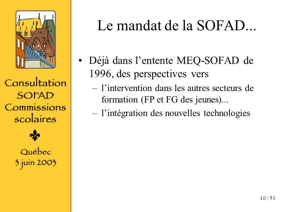 10 / 51 Le mandat de la SOFAD...