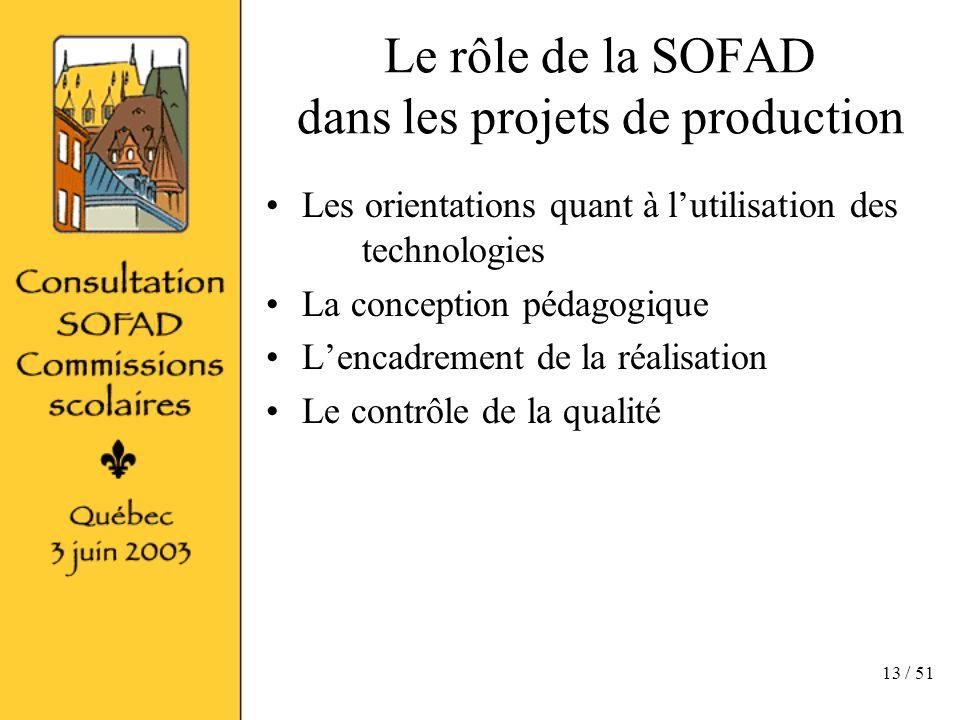 13 / 51 Le rôle de la SOFAD dans les projets de production Les orientations quant à lutilisation des technologies La conception pédagogique Lencadrement de la réalisation Le contrôle de la qualité