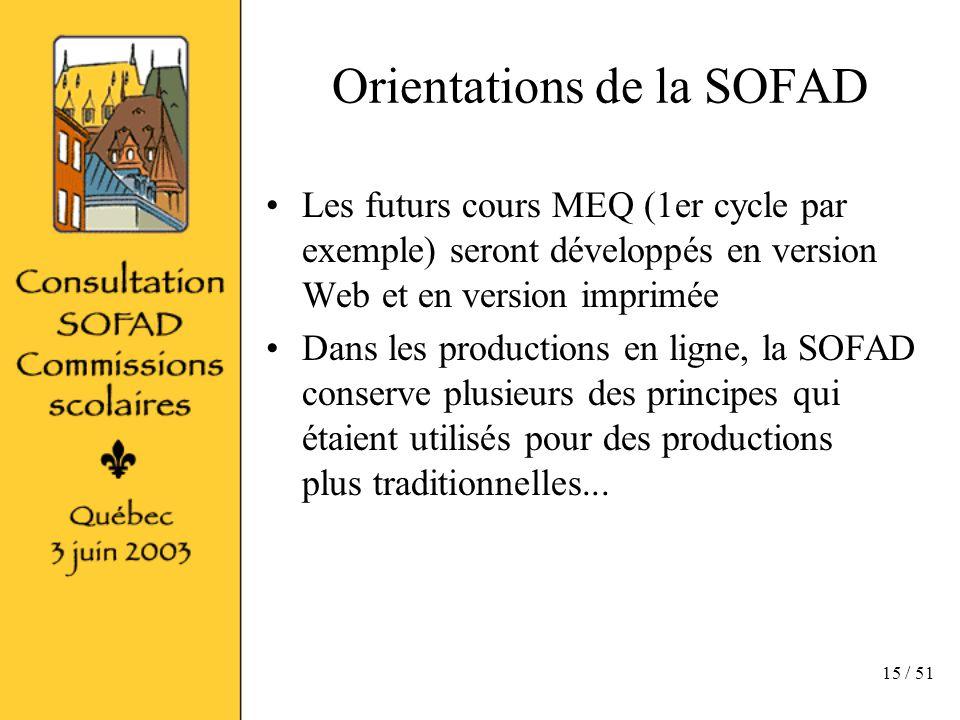 15 / 51 Orientations de la SOFAD Les futurs cours MEQ (1er cycle par exemple) seront développés en version Web et en version imprimée Dans les productions en ligne, la SOFAD conserve plusieurs des principes qui étaient utilisés pour des productions plus traditionnelles...