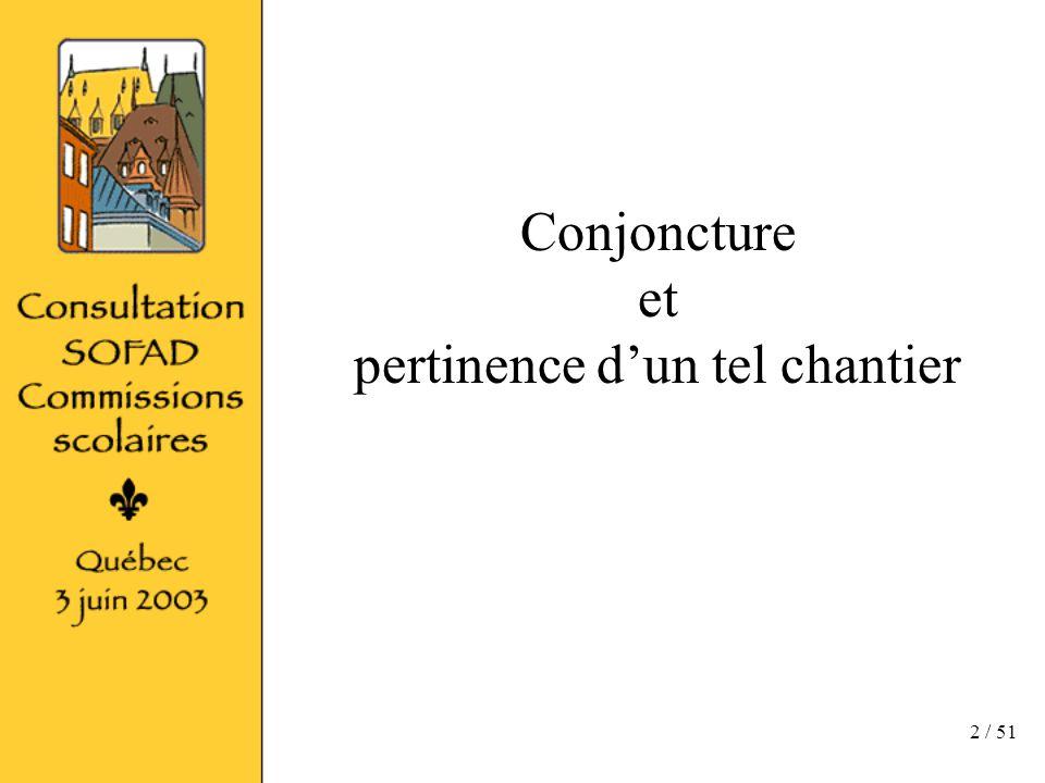 2 / 51 Conjoncture et pertinence dun tel chantier