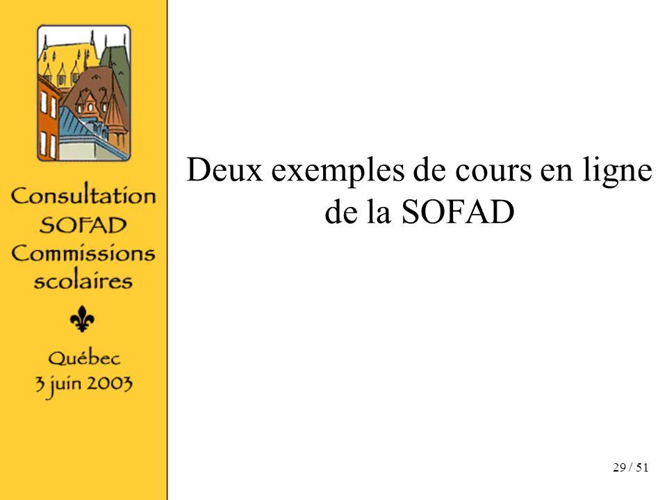 29 / 51 Deux exemples de cours en ligne de la SOFAD