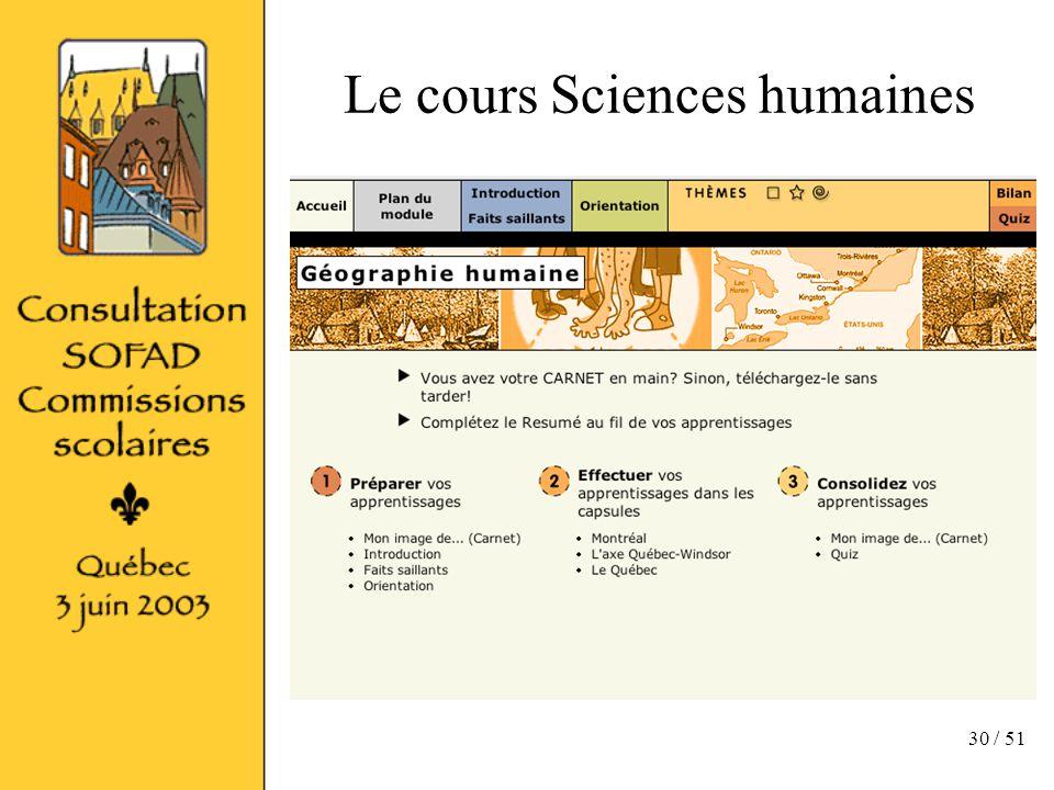 30 / 51 Le cours Sciences humaines