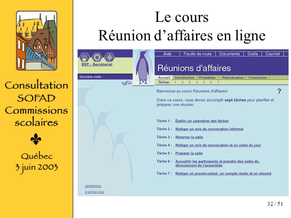 32 / 51 Le cours Réunion daffaires en ligne