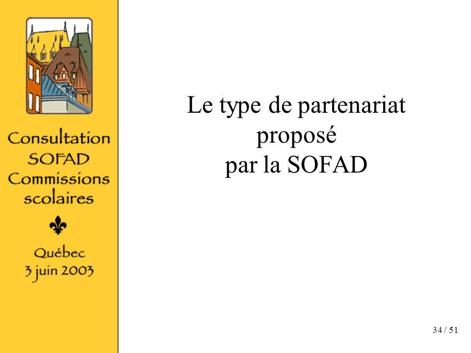 34 / 51 Le type de partenariat proposé par la SOFAD