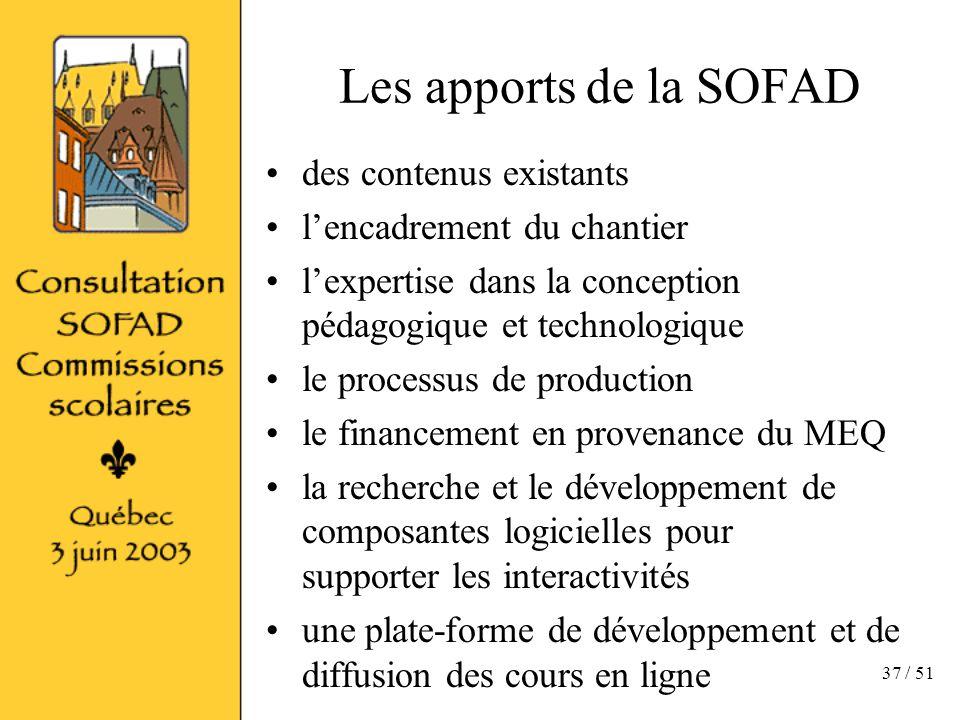 37 / 51 Les apports de la SOFAD des contenus existants lencadrement du chantier lexpertise dans la conception pédagogique et technologique le processus de production le financement en provenance du MEQ la recherche et le développement de composantes logicielles pour supporter les interactivités une plate-forme de développement et de diffusion des cours en ligne
