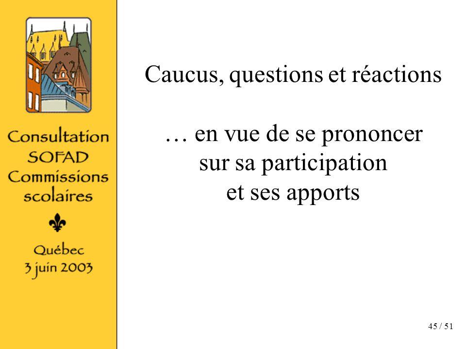 45 / 51 Caucus, questions et réactions … en vue de se prononcer sur sa participation et ses apports