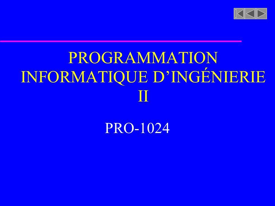 PROGRAMMATION INFORMATIQUE DINGÉNIERIE II PRO-1024