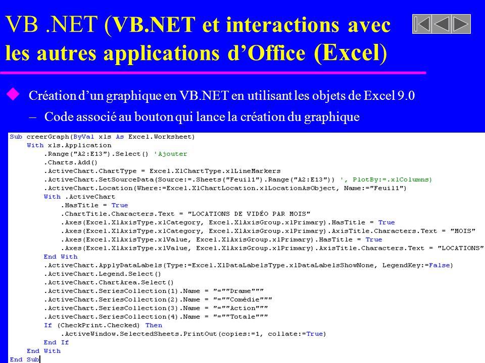 VB.NET ( VB.NET et interactions avec les autres applications dOffice (Excel ) u Création dun graphique en VB.NET en utilisant les objets de Excel 9.0