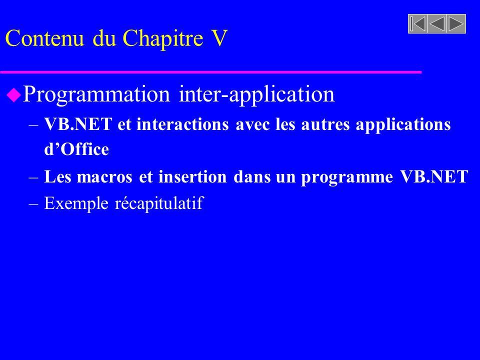 Contenu du Chapitre V u Programmation inter-application –VB.NET et interactions avec les autres applications dOffice –Les macros et insertion dans un