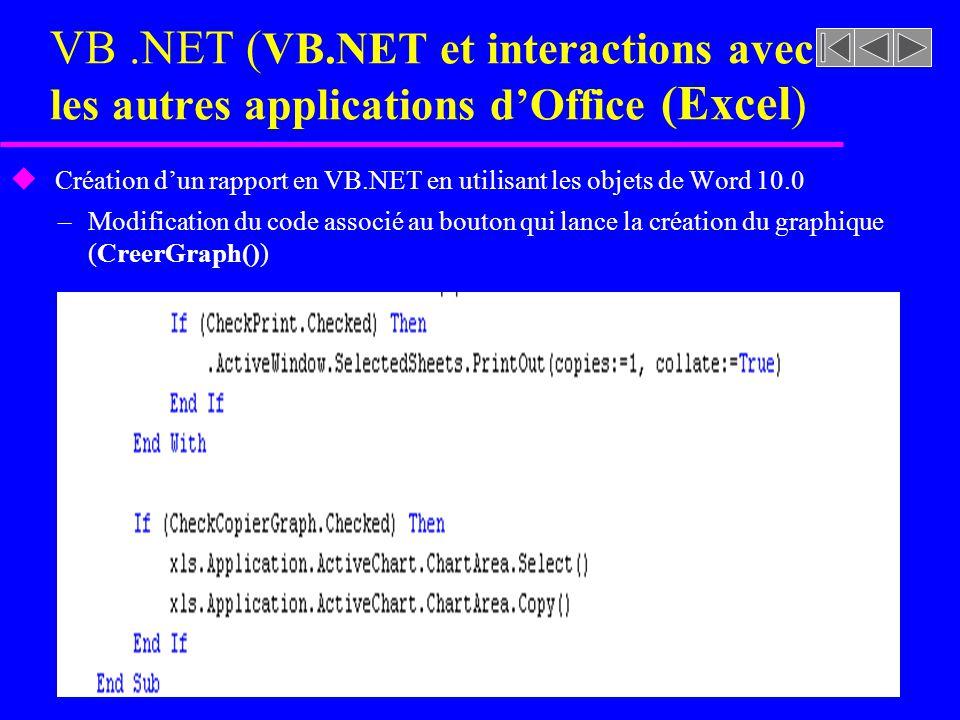 VB.NET ( VB.NET et interactions avec les autres applications dOffice (Excel ) u Création dun rapport en VB.NET en utilisant les objets de Word 10.0 –M