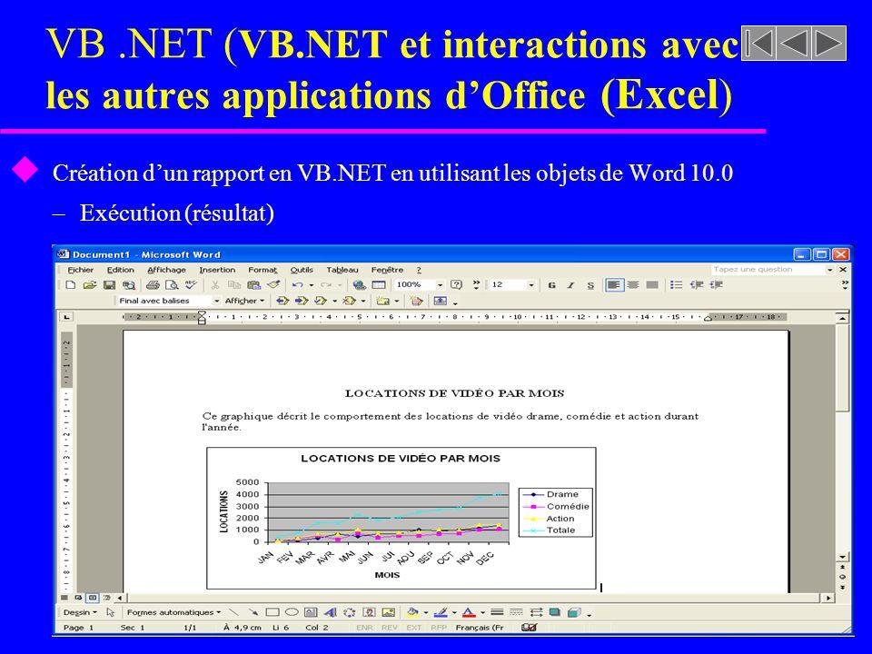 VB.NET ( VB.NET et interactions avec les autres applications dOffice (Excel ) u Création dun rapport en VB.NET en utilisant les objets de Word 10.0 –E