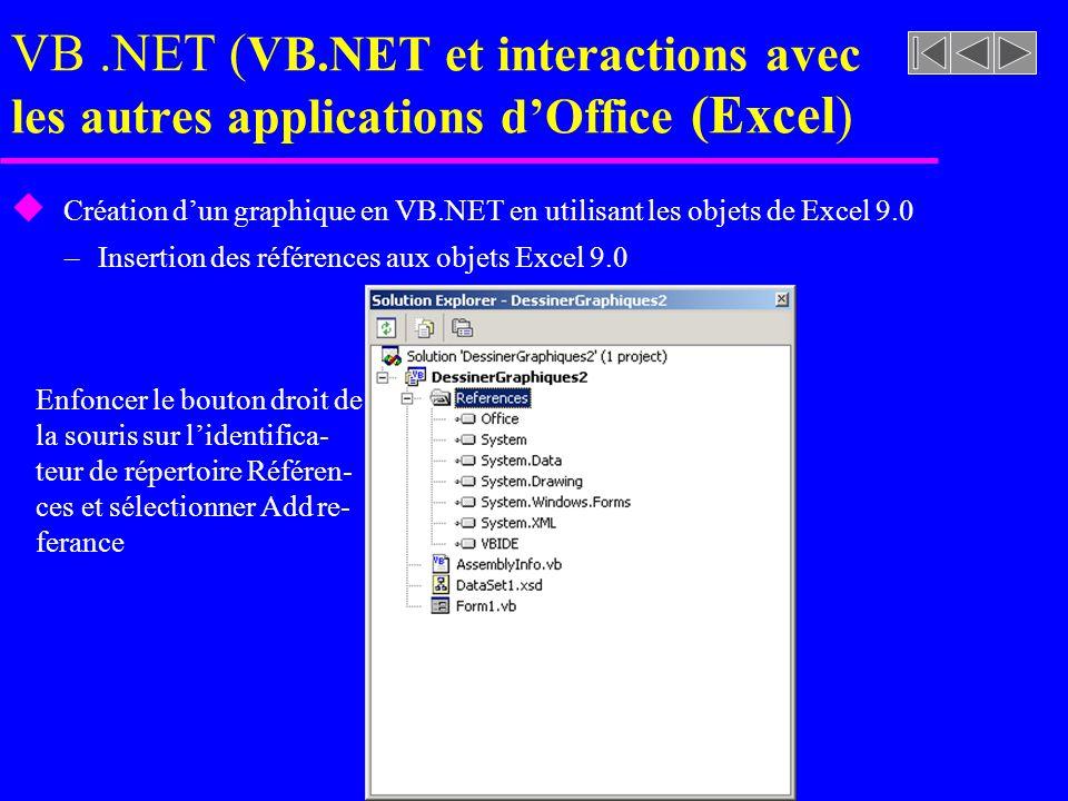 VB.NET ( VB.NET et interactions avec les autres applications dOffice (Excel ) u Création dun graphique en VB.NET en utilisant les objets de Excel 9.0 –Insertion des références aux objets Excel 9.0