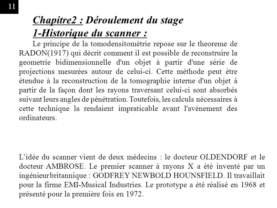 11 Chapitre2 : Déroulement du stage 1-Historique du scanner : Le principe de la tomodensitométrie repose sur le theoreme de RADON(1917) qui décrit com