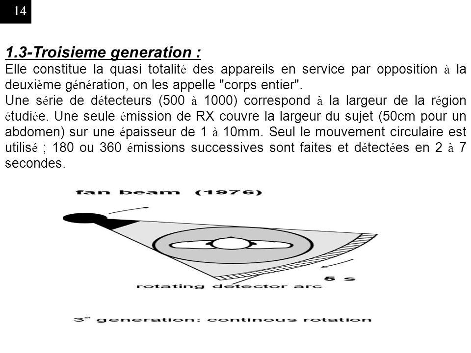 14 1.3-Troisieme generation : Elle constitue la quasi totalit é des appareils en service par opposition à la deuxi è me g é n é ration, on les appelle