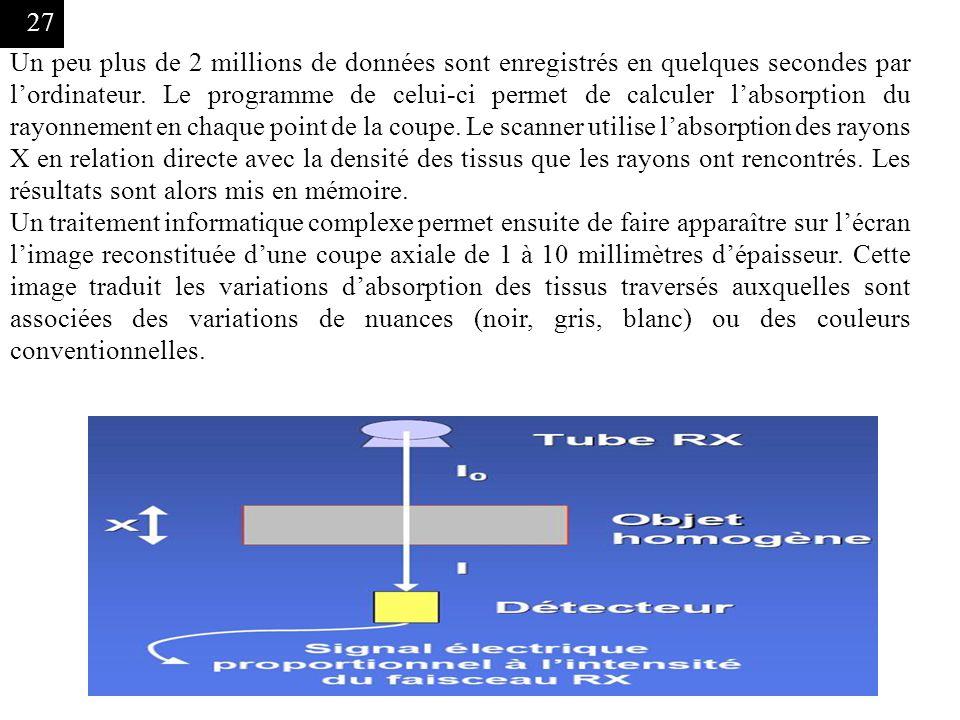 27 Un peu plus de 2 millions de données sont enregistrés en quelques secondes par lordinateur. Le programme de celui-ci permet de calculer labsorption