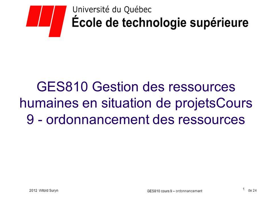 1 GES810 cours 9 – GES810 cours 9 – ordonnancement de 24 2012 Witold Suryn GES810 Gestion des ressources humaines en situation de projetsCours 9 - ordonnancement des ressources