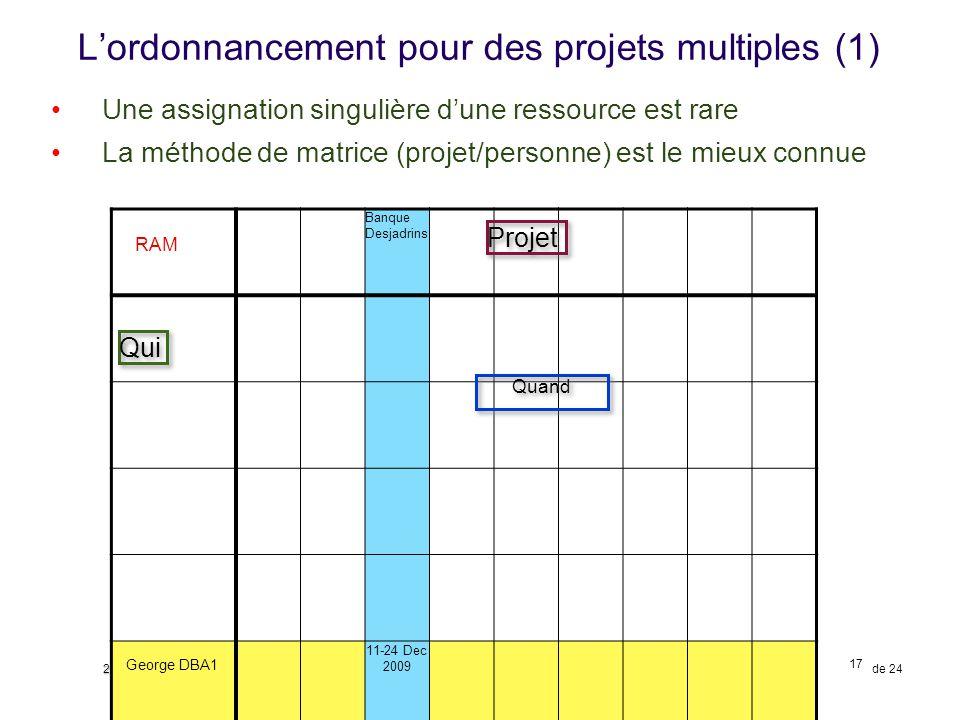 17 GES810 cours 9 – GES810 cours 9 – ordonnancement de 24 2012 Witold Suryn Lordonnancement pour des projets multiples (1) Une assignation singulière dune ressource est rare La méthode de matrice (projet/personne) est le mieux connue RAM Banque Desjadrins George DBA1 11-24 Dec 2009 Quand Projet Qui