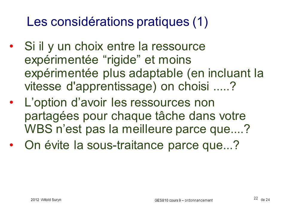 22 GES810 cours 9 – GES810 cours 9 – ordonnancement de 24 2012 Witold Suryn Les considérations pratiques (1) Si il y un choix entre la ressource expérimentée rigide et moins expérimentée plus adaptable (en incluant la vitesse d apprentissage) on choisi......