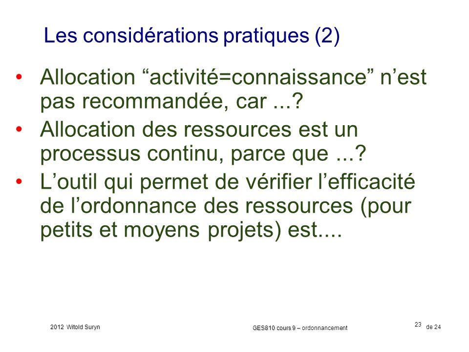 23 GES810 cours 9 – GES810 cours 9 – ordonnancement de 24 2012 Witold Suryn Les considérations pratiques (2) Allocation activité=connaissance nest pas recommandée, car....