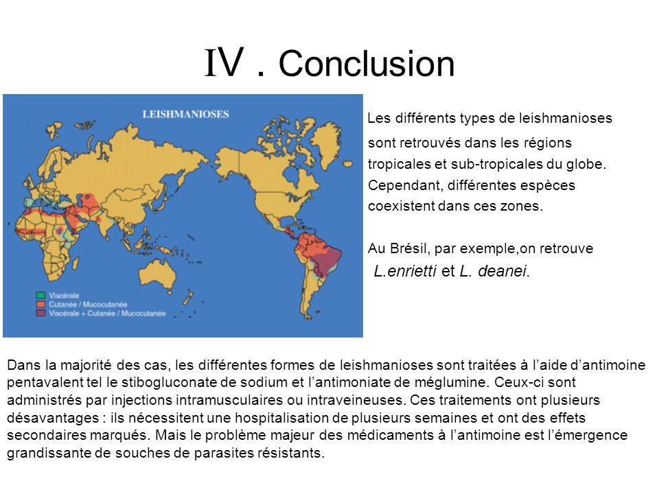 V. Conclusion Les différents types de leishmanioses sont retrouvés dans les régions tropicales et sub-tropicales du globe. Cependant, différentes espè
