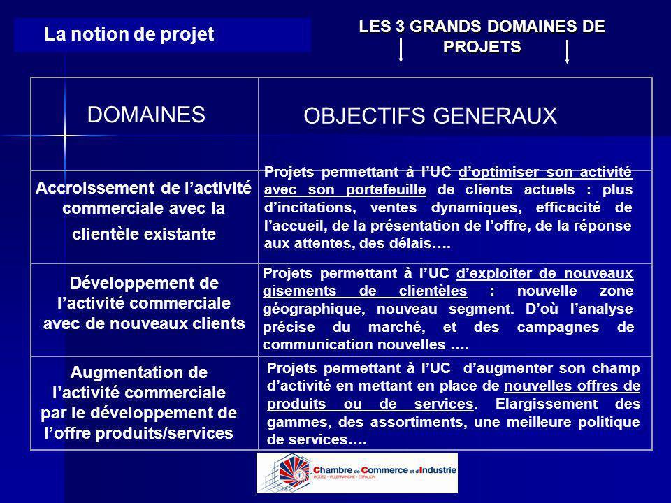 Lycée B de Perthes - Abbeville Lycée De Gaulle - Vannes La notion de projet DOMAINES OBJECTIFS GENERAUX Accroissement de lactivité commerciale avec la