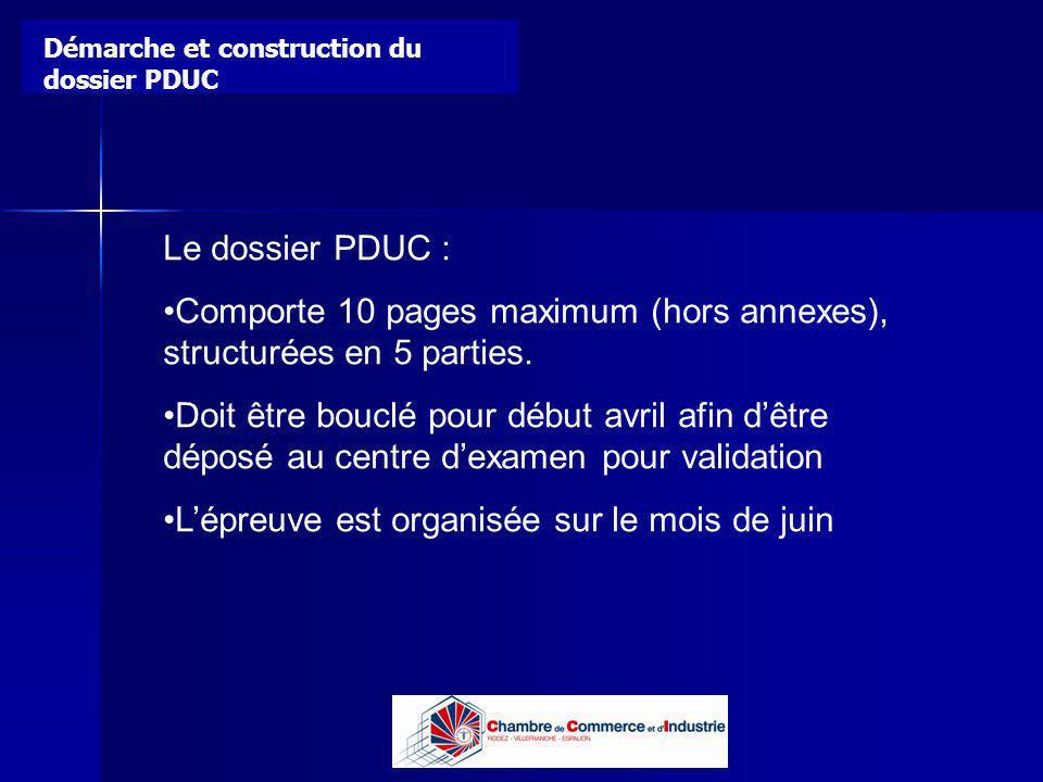 Lycée B de Perthes - Abbeville Lycée De Gaulle - Vannes Le dossier PDUC : Comporte 10 pages maximum (hors annexes), structurées en 5 parties. Doit êtr