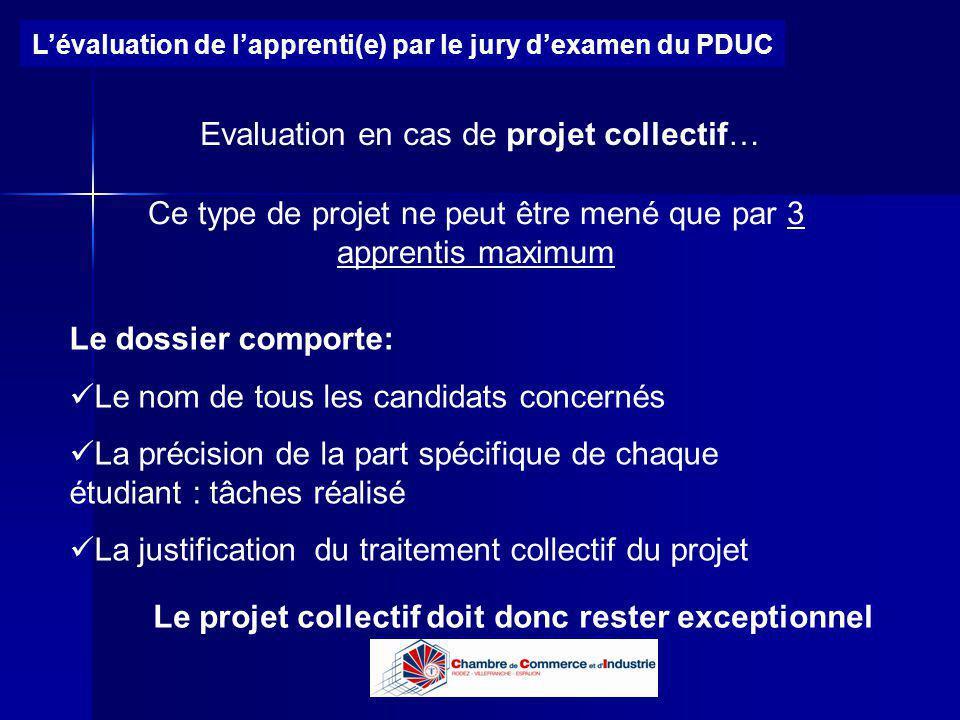 Lycée B de Perthes - Abbeville Lycée De Gaulle - Vannes Lévaluation de lapprenti(e) par le jury dexamen du PDUC Evaluation en cas de projet collectif…