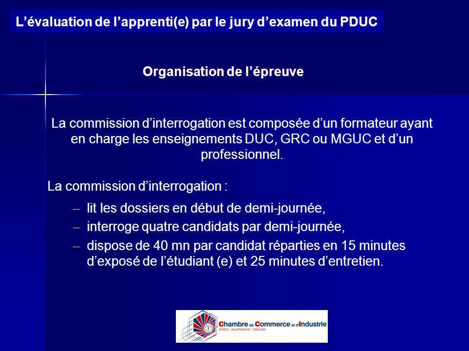Lycée B de Perthes - Abbeville Lycée De Gaulle - Vannes Lévaluation de lapprenti(e) par le jury dexamen du PDUC Organisation de lépreuve La commission