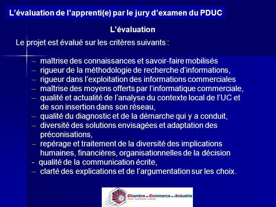 Lycée B de Perthes - Abbeville Lycée De Gaulle - Vannes Lévaluation de lapprenti(e) par le jury dexamen du PDUC Lévaluation maîtrise des connaissances
