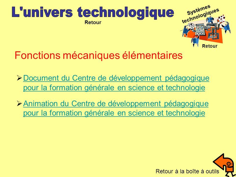 Retour Fonctions mécaniques élémentaires Systèmes technologiques Retour Document du Centre de développement pédagogique pour la formation générale en