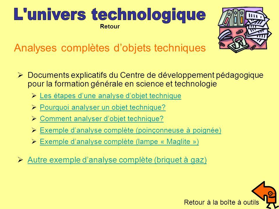 Analyses complètes dobjets techniques Documents explicatifs du Centre de développement pédagogique pour la formation générale en science et technologi