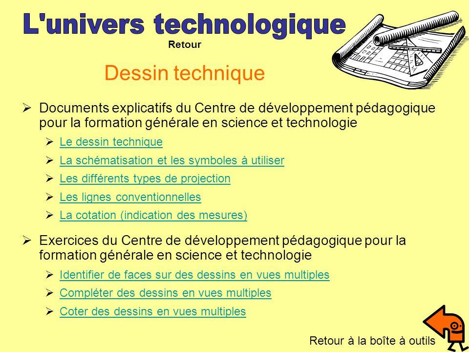 Dessin technique Documents explicatifs du Centre de développement pédagogique pour la formation générale en science et technologie Le dessin technique