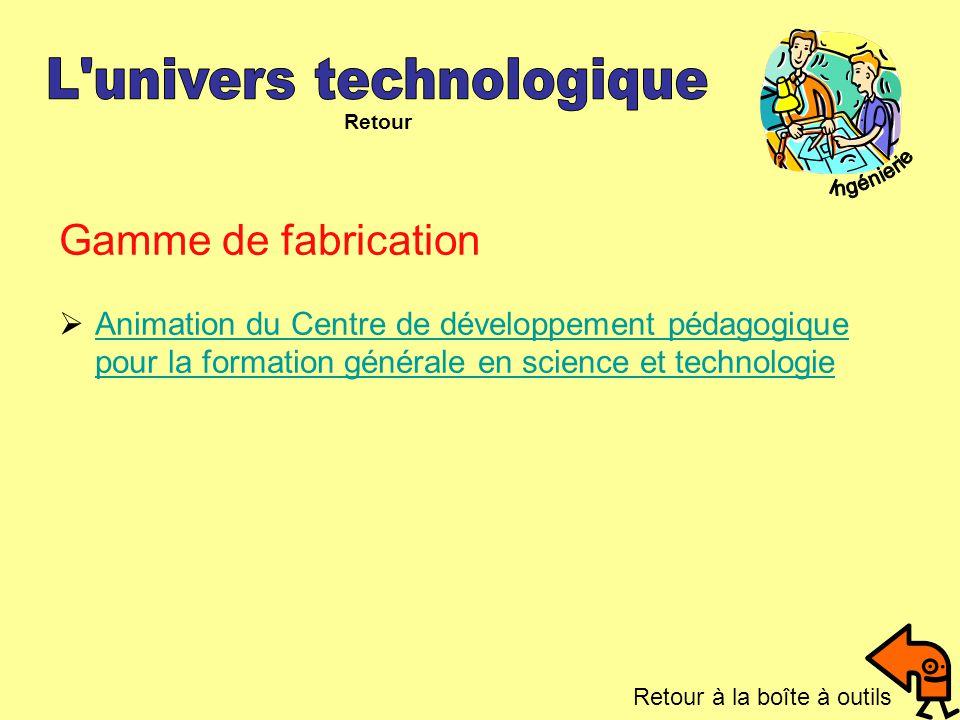 Gamme de fabrication Animation du Centre de développement pédagogique pour la formation générale en science et technologie Animation du Centre de déve