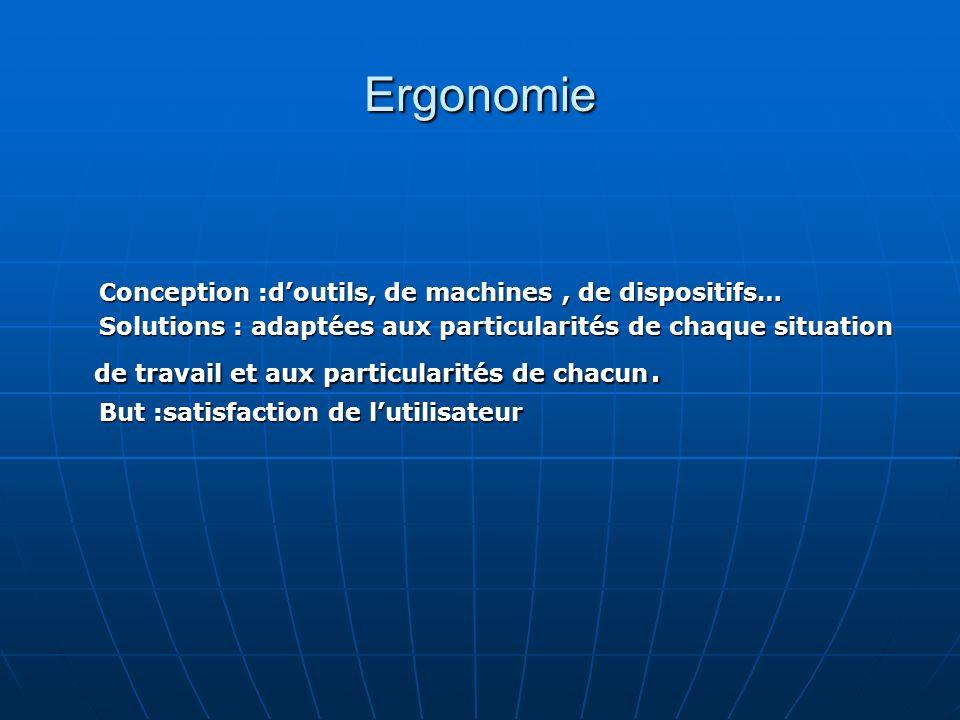 Ergonomie Conception :doutils, de machines, de dispositifs… Conception :doutils, de machines, de dispositifs… Solutions : adaptées aux particularités