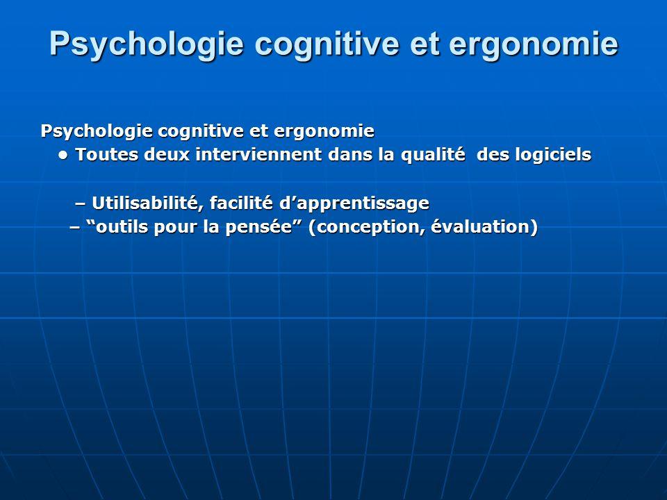Psychologie cognitive et ergonomie Toutes deux interviennent dans la qualité des logiciels Toutes deux interviennent dans la qualité des logiciels – U