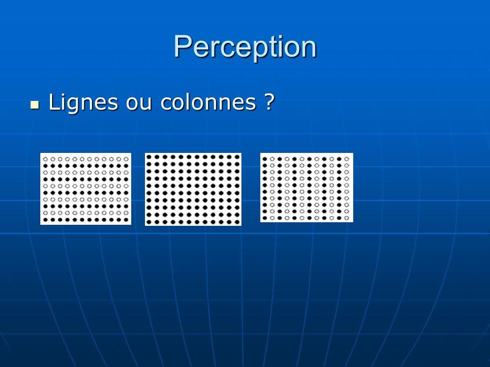 Perception Lignes ou colonnes ? Lignes ou colonnes ?