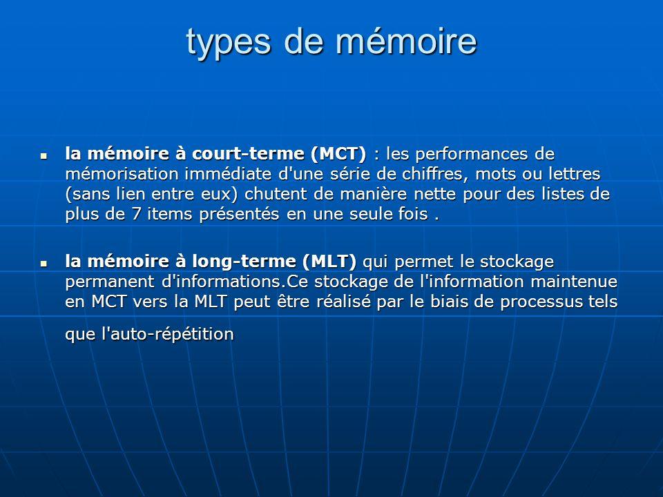 types de mémoire la mémoire à court-terme (MCT) : les performances de mémorisation immédiate d'une série de chiffres, mots ou lettres (sans lien entre