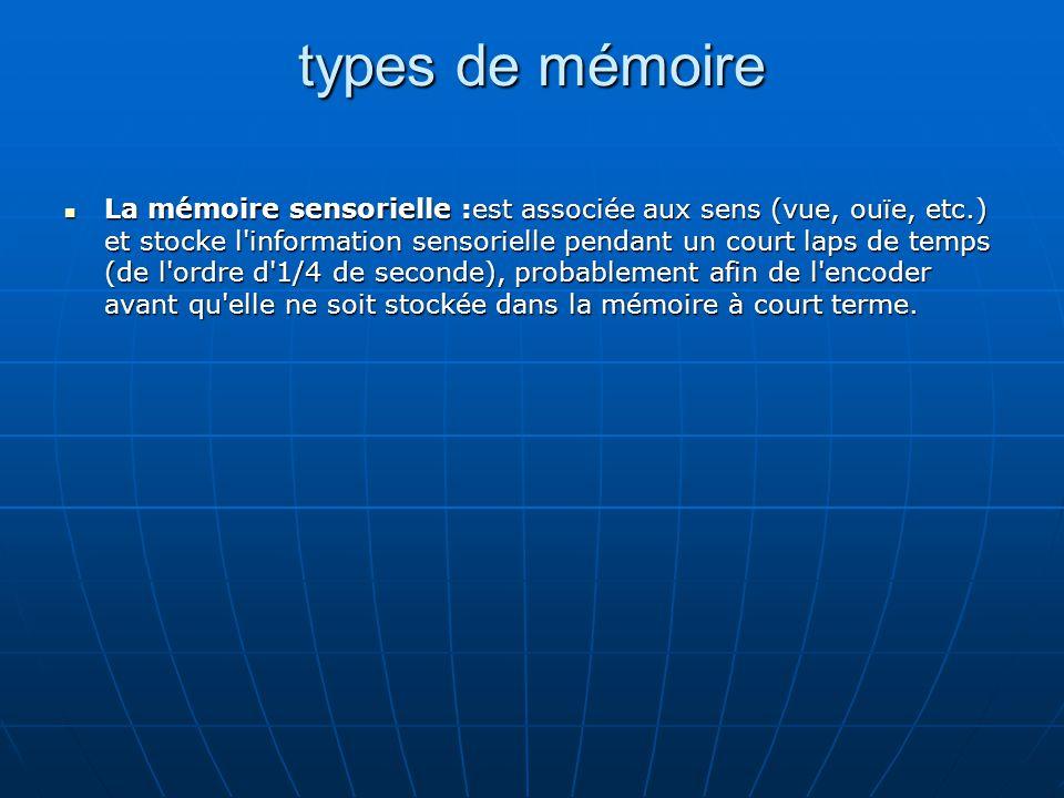 types de mémoire La mémoire sensorielle :est associée aux sens (vue, ouïe, etc.) et stocke l'information sensorielle pendant un court laps de temps (d