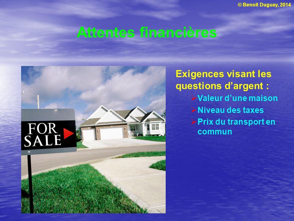 © Benoit Duguay, 2014 Attentes financières Exigences visant les questions dargent : Valeur dune maison Niveau des taxes Prix du transport en commun